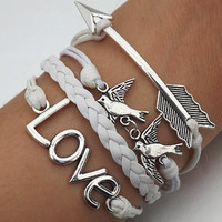 Telesthesia Lovers bracelet--Unisex fashion silver arrow, bird and LOVE bracelet--white wax rope and white Leather braided leather bracelet