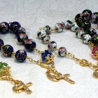 Cloisonné and crystal rosary bracelet