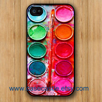 Watercolor Round painting Box, palette Design on Black Iphone 4 case, Iphone 4S case, Plastic hard case, Waterproof Iphone Case