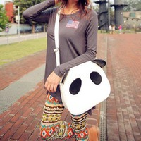 New Womens Girls Cute Panda PU Leather Handbag Shoulder Bag Cross Body