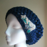 Denim Slouchy Hat with Teal Fox