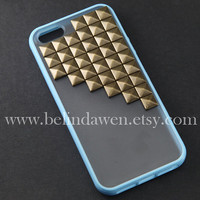 studded iphone 5 case, antique brass pyramid stud blue iPhone case, baby blue,  Frosted Translucent iphone 5 case, case for iphone 5