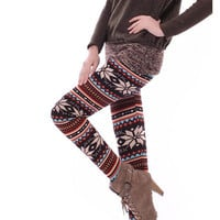 Knitted Colorful Crystal Pattern Leggings Tights Pants New Casual Comfortable O