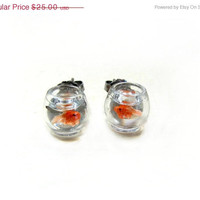 Black Friday Sale Goldfish Bowl Earrings Miniature Pet Gold Fish On The Go