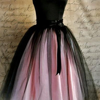 Pink and Black Strapless Satin Dress
