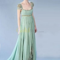 Gossip Girl Fashion Cap Sleeves Empire Waist Satin Chiffon Maxi Celebrity Dress - US&amp;#36;244.99 - Goldwo.com
