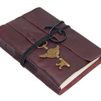 Burgundy Leather Journal with Winged Clock Key Charm Bookmark