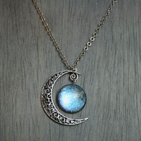 Aurora Moonlight Antique Silver Necklace