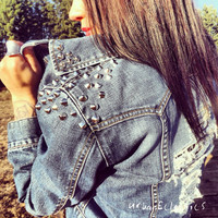 Distressed Spiked Cross Jacket
