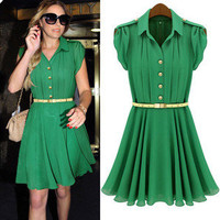 Celeb Style Womens Fashion Pleated Chiffon Green Button Shirt Dress Free Belt