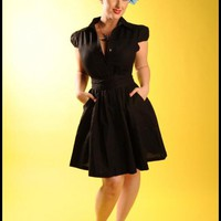 Button Front Linen Day Dress in Black | Pinup Girl Clothing