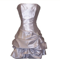 A-line Strapless Sleeveless Short / Mini Satin Bridesmaid Dress With Ruffles Beading Free Shipping