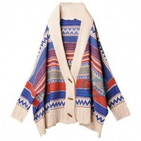 Fashion Bohemian Tribal Oversized Knit Bat Sleeve Stripe Sweater Cardigan