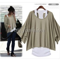 Sz S M L XL XXL Fashion Loose Off Shoulder Tops Batwing 2 PCS T-Shirt +Tank Vest