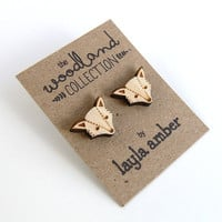 NEW - Wooden Fox Stud Earrings