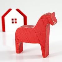 Scandinavian Dala horse wooden toy decor for Christmas, Red