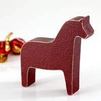 Scandinavian Dala horse wooden toy decor for Christmas, burgundy