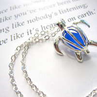 Turtle Locket Necklace with Royal Blue Sea Glass - Perfect nautical gift for sisters, girlfriends, turtle lovers - FREE SHIPPING