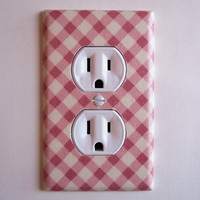 Pink & Cream Lattice Outlet Plate