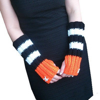 Long Halloween Fingerless Gloves hand knit in by littlexbekahxbug