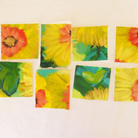 original painting art swatches for cards, journal covers, collages, framed art, and the like set of 8 small swatches.