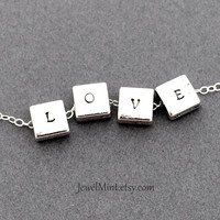 Custom Necklace, Personalized metal Necklace, hand stamped custom necklace, square personalized bead, reversible