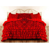 Ruffle Duvet Cover Full/Queen RED Color Egyptian Cotton Bedding 1000TC