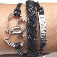 Telesthesia Lovers bracelet--Unisex  Fashion silver Heart linked to heart and LOVE black Wax rope Braided leather bracelet