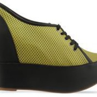 Jeffrey Campbell Eqpt in Yellow Black Mesh at Solestruck.com