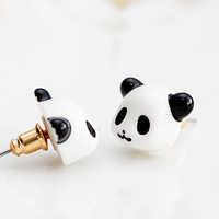 Little Panda Stud Earrings Black and White Resin Panda Kawaii Ear Studs Cute Animal Ear Posts Panda Jewelry - E184