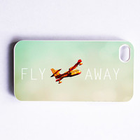 iPhone 4 Case: Fly Away. White Case. Fits iPhone 4S. Blue Sky. Sea Plane. For Travel Geeks. READY-TO-Ship