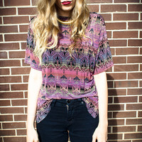 Vintage Pink Purple Black Coral Tribal Print Oversized Blouse