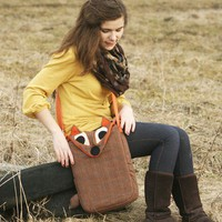 15'' Plaid Fox Messenger bag / laptop case, plaid orange brown- made to order