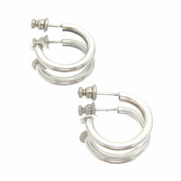 Sterling Silver Post Hoop Earrings