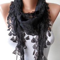Gift Scarf- Cotton Scarf - Christmas Gift - Cotton Black Scarf with Trim Edge - Lightweight