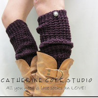 SALE  PURPLE hand knit look textured slouchy leg warmers retro 80s look  boots and shoes great gifts stocking stuffers Catherine Cole Studio