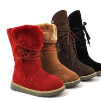NEw WOMEN'S GIRL'S WINTER SNOW LACE UP WARMER BOOTS SHOES FREE SHIPPING 4 COLORS