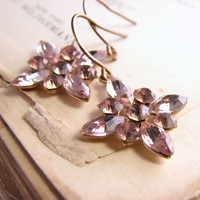 Shabby lilac drop earrings snowflake vintage rhinestone SALE