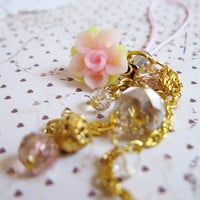 Kawaii Hime Gyaru Cell Phone Charm - Pink Clay Flower - Gold Key Chain - Glass Beads - Dangle Phone Strap - Zipper Pull