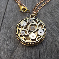 Reserved for Marie S. Clockpunk Reversible Steampunk Pendant Necklace, Polished Brass Watch Movement on Brass Curb Princess Link Chain