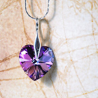 Black Friday Cyber Monday Sale 15% Heart Pendant Swarovski Crystal Jewelry Purple Heart Christmas Gift Idea For Her