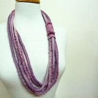 Multi Strand Fiber Necklace. Beaded Felt Statement Necklace. Lavender