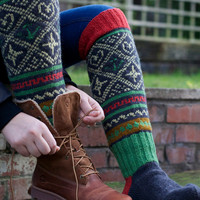 Knee high black knitted socks with Scandinavian ornaments