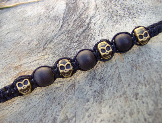 Mens Guys Black Skull Beaded Hemp Bracelet or by KnottyandNiceHemp
