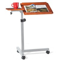 Rolling, Adjustable Wood Laptop Table Desk - Plow & Hearth