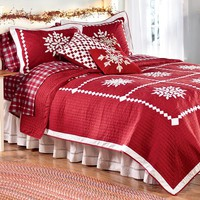 Crystal Snowflake Cotton Quilt, Shams And Pillow - Plow & Hearth