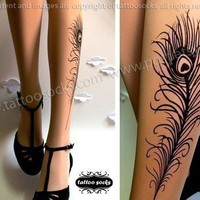 sexy PEACOCK FEATHER TATTOO gorgeous knee-high socks light mocha