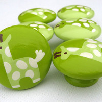 Hand Painted Giraffe Drawer Knobs in Lime by sweetmixcreations