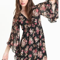 Spencer Bell Sleeve Floral Dress - &amp;#36;48.00 : ThreadSence.com, Your Spot For Indie Clothing  Indie Urban Culture