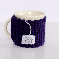 Tea Mug Cozy  or Cup Cozy Sleeve in Purple With Tea Time Tag